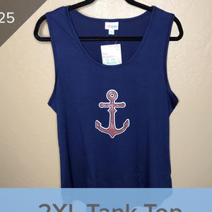 Lularoe 2XL Tank Top Anchor Navy Blue